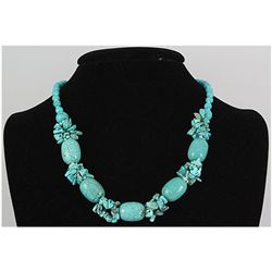 Natural 345.33ctw Turquoise Sterling Silver Necklace