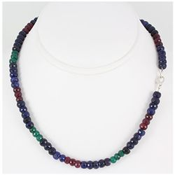 218.51ctw Natural Multi-Color Rondelles Necklace
