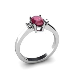 Ruby 0.60 ctw Diamond Ring 14kt White Gold