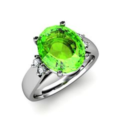 Peridot 4.00 ctw & Diamond Ring 14kt White Gold