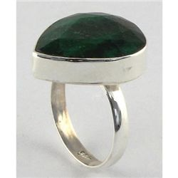 35.60ct Natural Pear Emerald Sterling Silver Ring