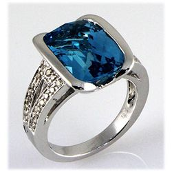 Genuine 9.41 ct Blue Topaz & Diamond Ring 14k W/G 7.41g
