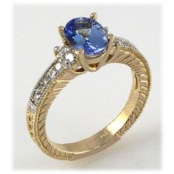 Genuine 1.80 ctw Tanzanite Diamond Ring 14k YG H, SI2
