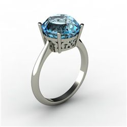 Aqua Marine 3.50 ctw Ring 14kt White Gold