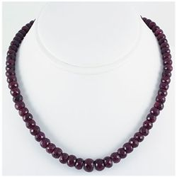 315.49ctw Natural Ruby Rondelles Necklace