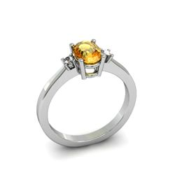 Citrine 0.45 ctw Diamond Ring 14kt White Gold