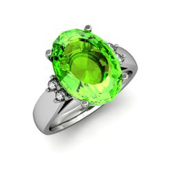 Peridot 6.00 ctw & Diamond Ring 14kt White Gold