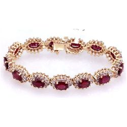 Ruby 18.40 ctw Diamond Bracelet 14k W/Y Gold
