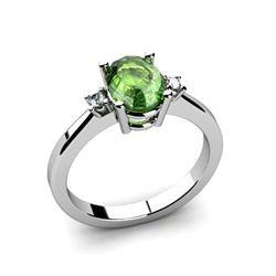 Tourmaline 1.18 ctw Diamond Ring 14kt White Gold