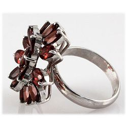 Garnet 11.55 ctw Flower Design Ring 0.925 Silver