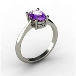 Amethyst 1.25 ctw Ring 14kt White Gold