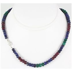 189.31ctw Natural Multi-Color Rondelles Necklace