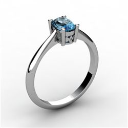 Aqua Marine 0.40 ctw Ring 14kt White Gold