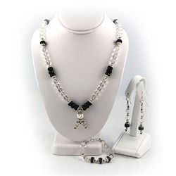 541ctw White Topaz & Black Onyx Silver Sets