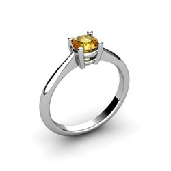 Citrine 0.40ctw Ring 14kt White Gold