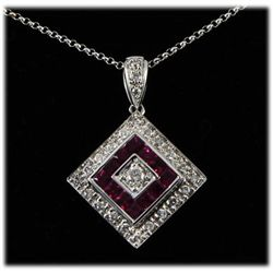 Genuine 1.43ctw Ruby Diamond Necklace 14kt W/G 5.36g