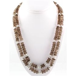 537.5ctw Smokey Quartz 2Row Silver Necklace