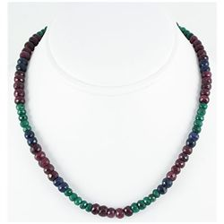220.20ctw Natural Multi-Color Rondelles Necklace