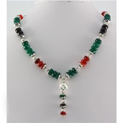 516ctw Emerald Black Onyx & Orange Topaz Silver Sets