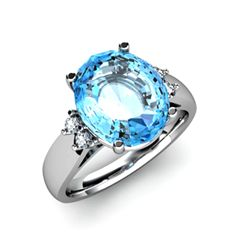 Topaz 6.00 ctw & Diamond Ring 14kt White Gold