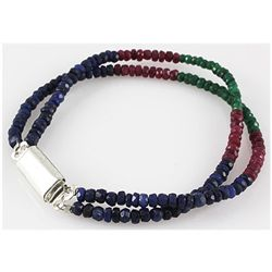 68.17ct 2 Row Micro Faceted Multi-Color Bracelet