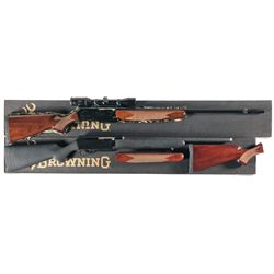 Two Boxed Browning BAR II Semi-Automatic Rifles-A) Browning BAR II Safari Rifle with Swarovski 3-9x3