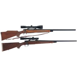 Two Bolt Action Rifles with Scopes-A) Remington 700 BDL Varmit Rifle with Bushnell 4x12 Scope and Sl