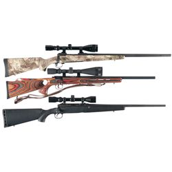 Three Savage Bolt Action Rifles with Scopes