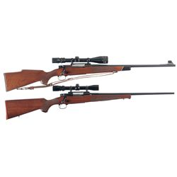 Two Scoped Winchester Model 70 Bolt Action Rifles