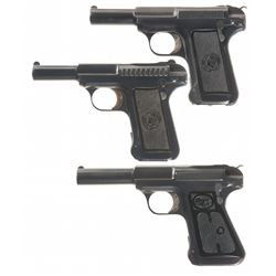 Collector's Lot of Three Savage Semi-Automatic Pistols