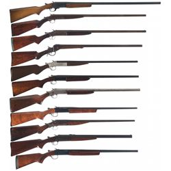 Ten Single Barrel Shotguns and One Rifle/Shotgun Combination Gun