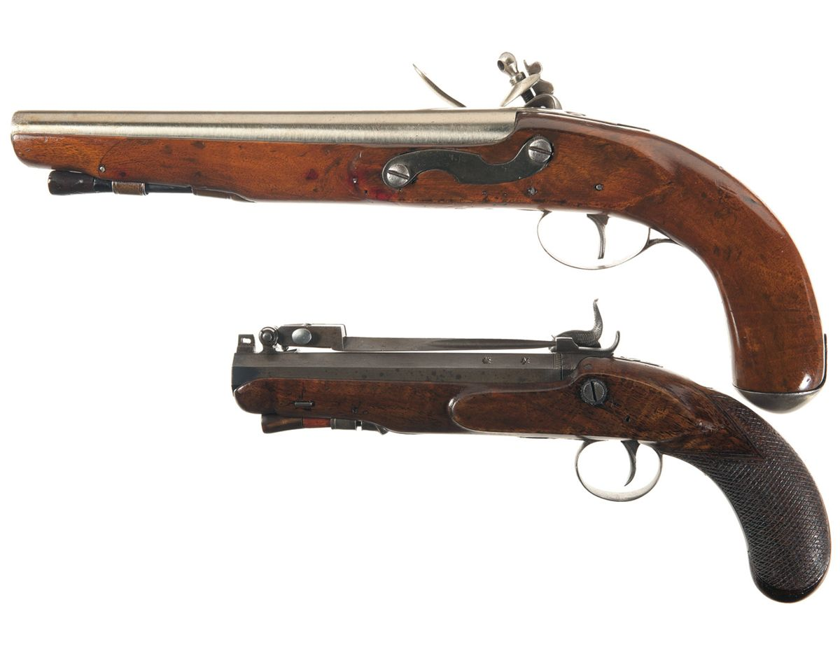Two Antique Pistols A Tower Marked Flintlock Pistol With Belgian