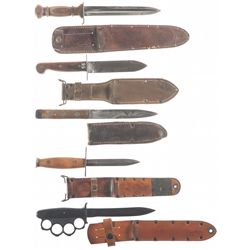 Five Fighting Knives, Including an Early Ek Knife