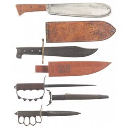 One Corpsman's Knife and Three Fighting Knives