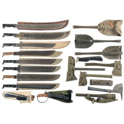 Large Grouping of U.S. Machetes, Hatchets and Entrenching Tools