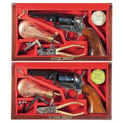 Two Cased Italian Reproductions of the Colt Model 1849 Wells Fargo Percussion Revolver with Accessor