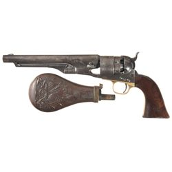 Colt 1860 Army Percussion Revolver with Powder Flask