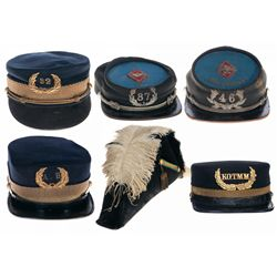 Five Military Kepi's and a Naval Bicorne Hat