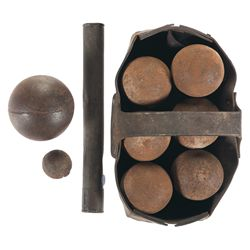 8 Cannon Balls, Leather Tool Carrier and Metal Tube with Enlistment Papers