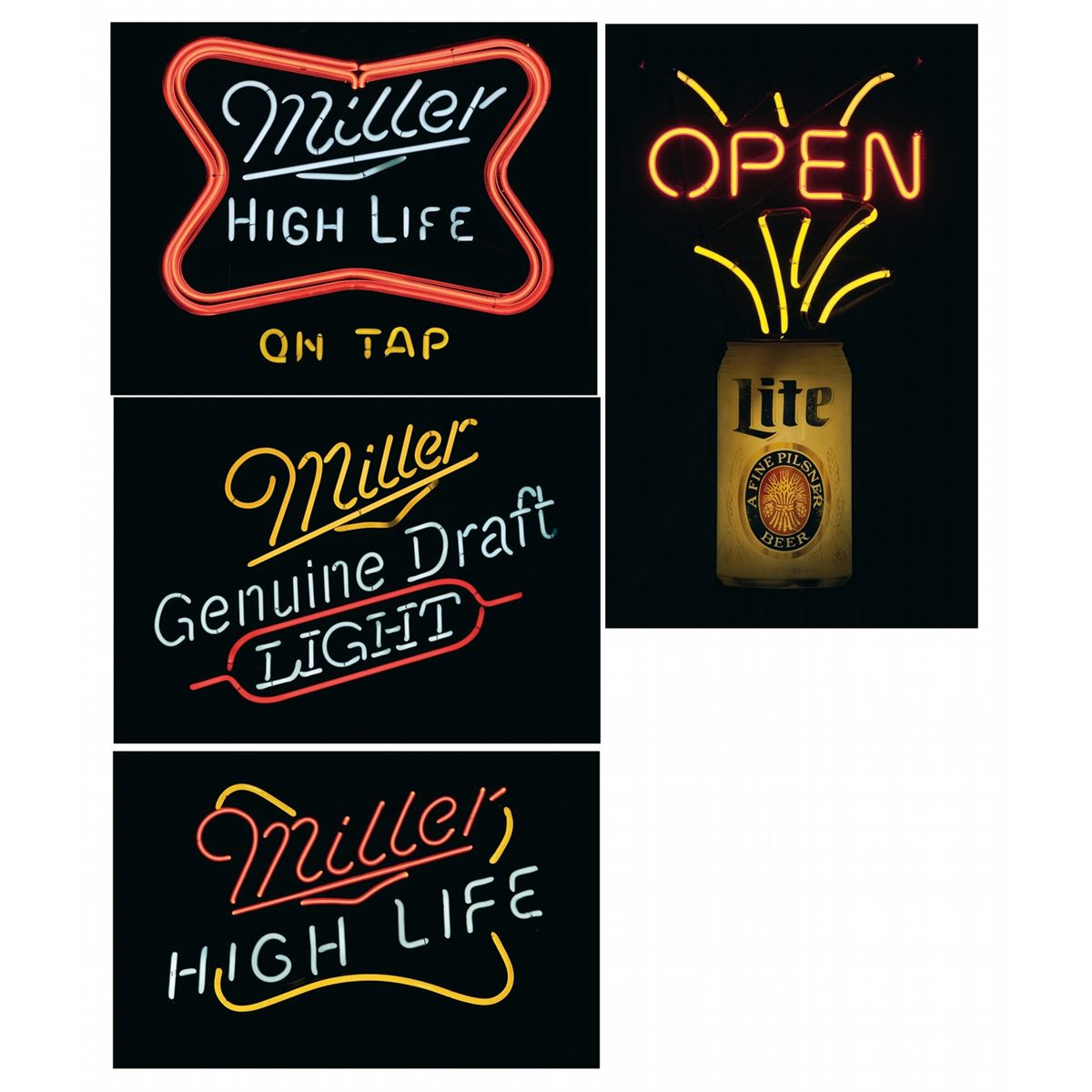 Four Miller Product Neon Beer Signs