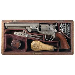 Engraved Colt Model 1849 Pocket Revolver with Case and Accessories