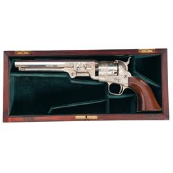 Cased Custom Engraved Inscribed Silver Plated Colt Model 1851 Navy Percussion Revolver