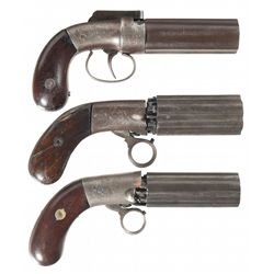 Three Double Action Pepperboxes