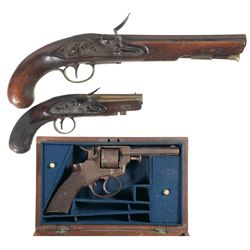 Two Flintlock Pistols and a Revolver