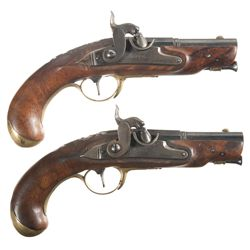 Matching Pair of German Percussion Pistols