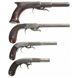 Collector's Lot of Four Underhammer Percussion Pistols