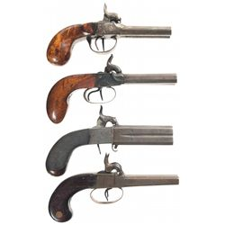 Four Double Barrel Percussion Pistols