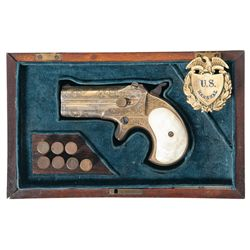 Cased Engraved Gold Remington Type II O/U Derringer with Pearl Grips