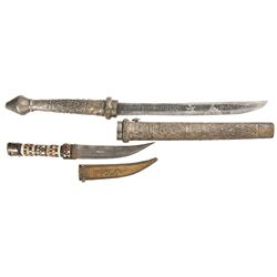Burmese Dagger with Scabbard and Jambaya Dagger with Sheath