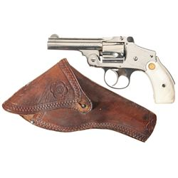 Smith & Wesson .38 Safety Hammerless 4th Model Double Action Revolver with Pearl Grips and Holster